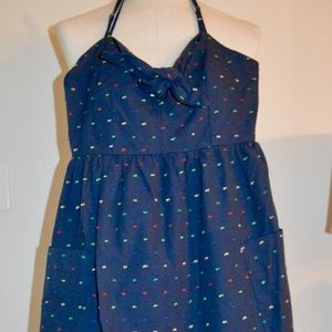 XS Blue Rain Navy Cotton Dress with pockets